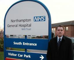 Andrew Simpson outside Northampton General Hospital